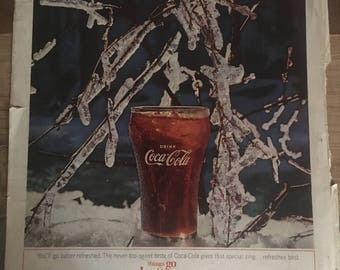 1964 McCall's magazine Coca-Cola ad mixed media collage or art for framing