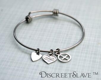 Stainless steel adjustable bracelet. Choose your charm. Master slave, polyamory, Bdsm
