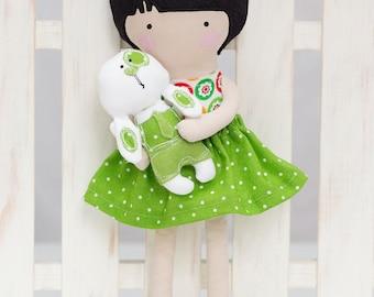 Plush doll with bunny rabbit - Rag doll - Stuffed toy - Cloth doll - Fabric doll - doll softie - Plush doll - sfuffed doll - with black hair