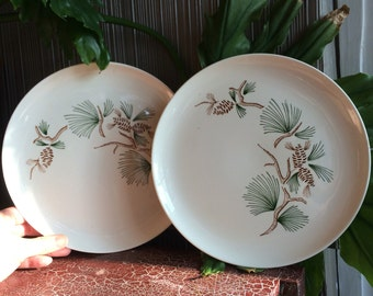 Vintage dinner plates 2 with pine bows and pine cones