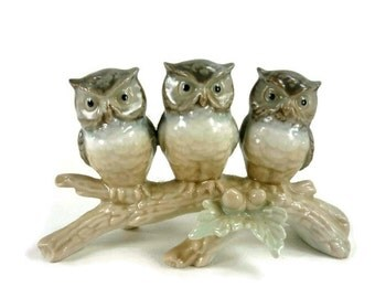 Vintage Owls on a Branch Gray or Grey