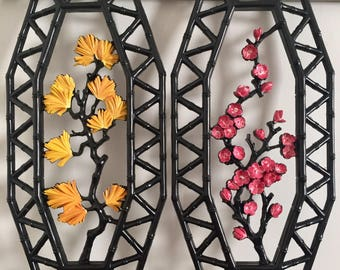 Bright Flowers Diptych, pair of upcycled vintage HOMCO walk hangings (7412 A and B), hand painting on resin, 1977, 2017