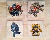 Stone Chibi Transformers Coaster set - Vintage Retro Comics Autobots Optimus Prime Wheeljack Ratchet Blurr Bumblebee Marvel cute kawaii