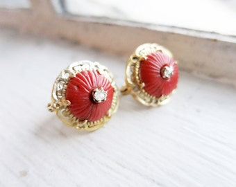 Antique Round 8K Gold Coral Earrings with 2 Tiny Rough Cut Diamonds from the Philippines