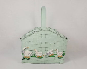 Mint Green Basket with Geese