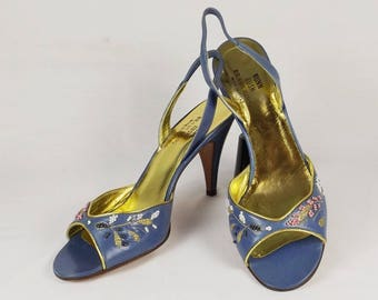 NUNN BUSH Blue Italian Leather Sandals US Size 7.5 M 7-1/2 M