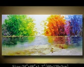 contemporary wall art, Palette Knife Painting,colorful tree painting,wall decor  Home Decor,Acrylic Textured Painting ON Canvas by Chen 0113
