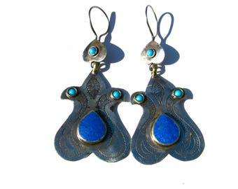 Pair Lapis Tribal Earrings