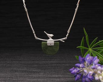 Silver Bird on a Branch and Jade Panel