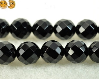 15 inch strand of natural Black Onyx faceted(64 faces) round beads 2mm 3mm 4mm 6mm 8mm 10mm 12mm 14mm