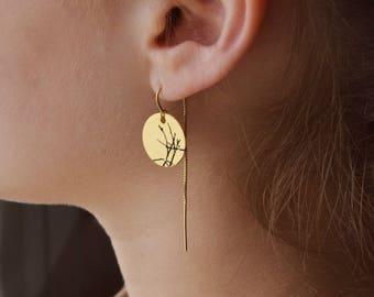 Threaders, Chain earrings, Gold filled earrings, Threader earrings, Minimalist earrings, Circle earrings, Engraved earrings, Gold earrings