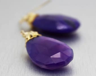 chalcedony earrings, gold earrings, gold filled, briolette earrings, amethyst earrings, purple chalcedony, dangle earrings