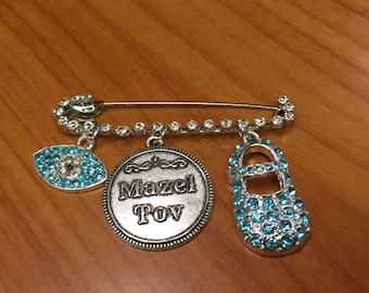 Safety pin baby boy Mazal Tov New Baby boy Evil eye gift Evil Eye talisman