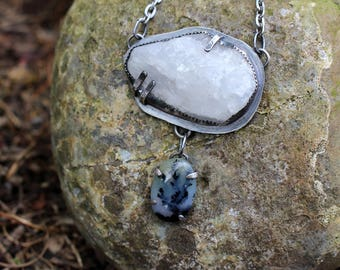 Dendritic Opal and Raw Crystal Necklace