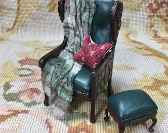 Chair & Ottoman with Drape and Pillow - by Pat Tyler Leather Dollhouse Miniatures