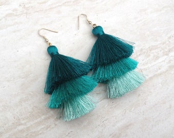 Silk Tassel Stack Earrings Teal Aqua Ombre Combo Tassle Earrings Festival Tassel Earrings Tassle Earings BOHO Earrings Summer Jewelry