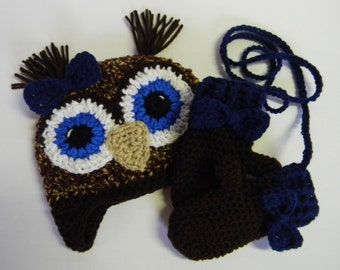 Crochet Owl Hat and Glove Set