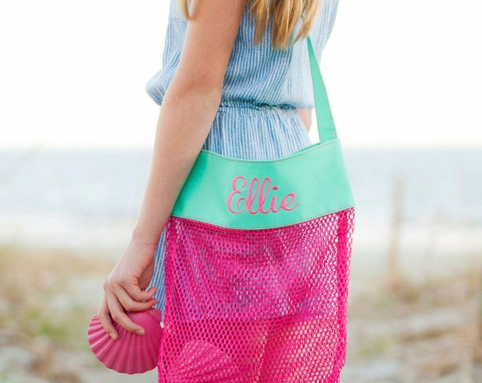 Monogrammed Shell Tote Bag, Personalized Mesh Beach Combing Tote, Girls and Boys Shell Totes, Shell Collection Bag
