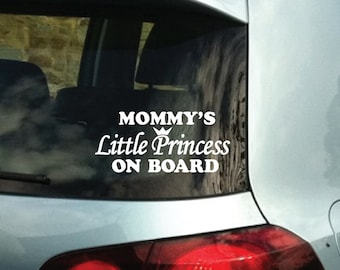 Mommy's Princess on Board Vinyl Bumper Car Decal Sticker 1154