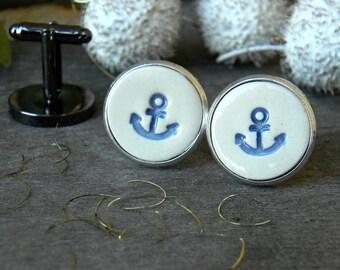 Anchor Cuff Links, Nautical Blue White Porcelain Cuff Links, Sailing Cuff Links, Unisex gift, Graduation Gift, Men fashion,  for him