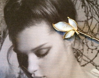 HOLIDAY SAVINGS Decorative Hair Pins Jewelry White Enamel Leaf Elven Fairy Faerie Hair Jewelry