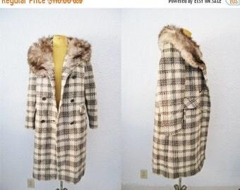 Bringing Home Baby SALE: Vintage 1960s Plaid Tartan Fox Fur Collar Swing Coat Jacket Winter Style Wool Knit Real Silver Fox Fur Collar