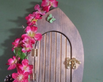 Fairy door, decorated, real wood, brass fixings