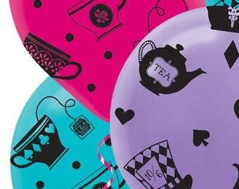 Alice In Wonderland Mad Hatter Balloons; Mad Hatter Balloons; Wonderland theme baby shower; Wonderland Birthday; Alice in Wonderland Decor