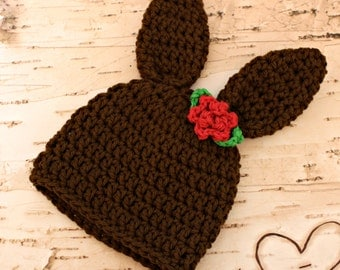 Bunny Hat - Brown Rabbit Hat - Boy or Girl Style - all sizes bunny beanie hat newborn, baby, child, adult