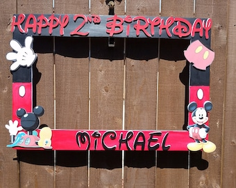 Red and Black Mickey Mouse  Clubhouse or any theme you want Party Photo Prop Frame