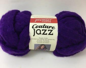 Premier Yarns Couture Jazz Purple Ruffle Fiber Yarn Super Bulky Iris Scarf Rug Novelty Specialty Discontinued