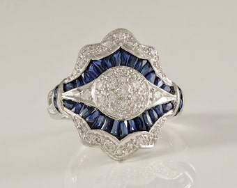 Handmade, Antique, 18k, Gold, White Gold, Dome, Natural, Blue, Sapphire, Diamond, Estate, Ring
