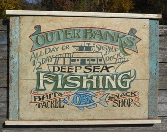 Outer Banks ( OBX ) Fishing  Sign, hand painted, original, Z FS OBX2