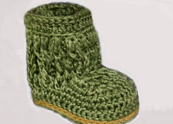 Cable Baby Booties in Sage - Handmade Crochet Baby Boots