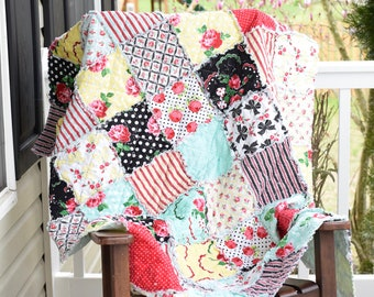 Rag Quilt, Ready to ship- Red, black, yellow and mint rag quilt, handmade rag quilt, patchwork rag quilt, cotton anniversary gift