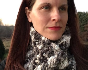 Chunky Knit Crochet Hat and Cowl - Neck warmer - Scarf - gift for her