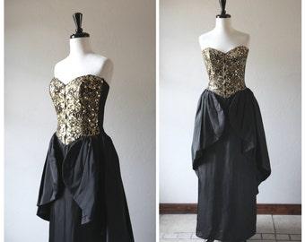 STOREWIDE SALE 20% Off ~ Gold Sequin Black Strapless Vintage Evening Dress w/ Full Peplum Long Skirt / Jessica McClintock / 1980s 1990s