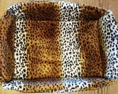 "The ""Box"" Bed for Pets, Leopard Skin Faux Fur"