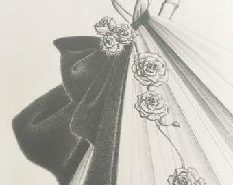 Original fashion illustration - pencil drawing - fine art sketch - vintage - old hollywood decor