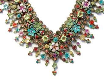 Michal Negrin Garden Lace Necklace Vintage Victorian Style Beads & Swarovski Crystals Little Flowers Velvet Choker