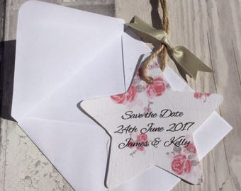 Country Rose Star Save the Date with plain envelope