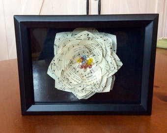 Framed Vintage Sheet Music Flower