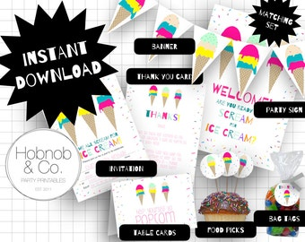 Printable ice cream party set INSTANT DOWNLOAD