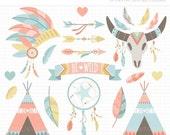 50% OFF  - Clipart - Boho Elements (1) / American Indian / Tribal Wedding Digital Clipart - Digital Clip Art (Instant Download)
