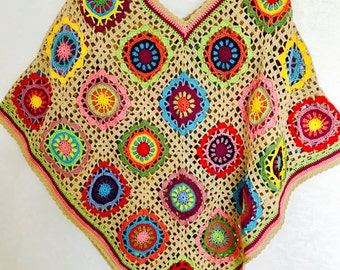 Crochet Poncho | Boho Style Ponch | Hippie Outfit Fahion | Colourful Crochet Poncho | Hippie Patchwork | Handmade |100 cotton-merserized