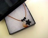Moon Necklace, Stars, Agate Necklace, Agate Pendant, Blue Goldstone, Gemstone Necklace