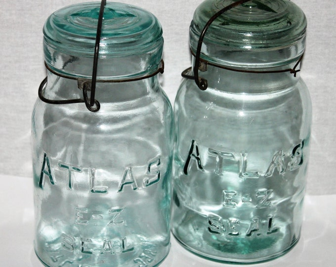 Antique Pair of Blue Atlas E-Z Seal Mason Jars with Glass Lids and wire Bails, Quart Size