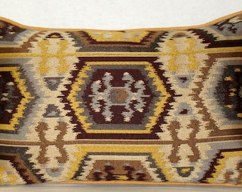 """Southwestern Tapestry Pillow with Gold Elk-Leather Welt, Slate Blue Chenille Back and Down Fill Insert 16"""" x 24"""""""