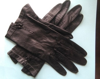 Vintage black leather gloves sz 6 1/4 (sml)