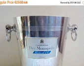 Sale 20 % Off .... Vintage French CHAMPAGNE BUCKET, Dry Monopole. White/ Blue Labeled on Both Sides. Aluminum Bucket with Chrome Finish and